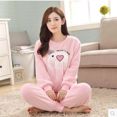 aaccdac286 pijama feminino inverno pajama Autumn and winter new flannel lady warm  winter cute little elephant flannel