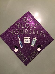 Adolescence years and up) (Cognitive, I did this Cognitive because it shows that the person is graduating and knows things about dental hygiene) My Dental Hygiene Graduation Cap 2015 Dental Hygiene Student, Dental Hygienist, Dental Assistant, Medical Students, Nursing Students, Graduation Cap Designs, Graduation Cap Decoration, Graduation Caps, Grad Cap