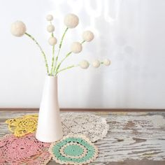 White felt flowers - White wool Winter Bouquet -  Wool pom pom floral decoration - Faux flowers - Small centerpiece - White Modern Wedding by berryisland on Etsy
