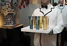 Elegant Gold Embellished Cocktial Glasses | Donna Von Bruening Photography | Blog.TheKnot.com