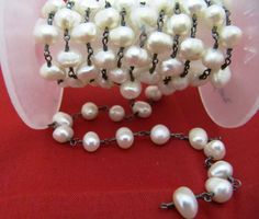1 Foot 6-7mm Fresh Water Pearl Rosary Chain in by Eminentjewel