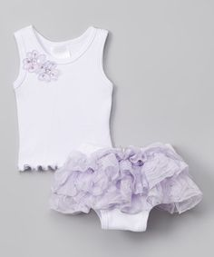 Another great find on #zulily! White & Lavender Tank & Lace Diaper Cover - Infant #zulilyfinds