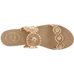 Jack Rogers Lauren Sandals ($40) ❤ liked on Polyvore featuring shoes, sandals, flats, flat sandals, sapatos, pull on shoes, cork sandals, cork flat shoes, slip on sandals and cork flats shoes