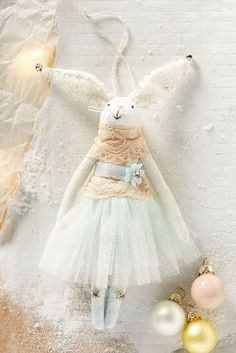 Christmas Ornament Bunny in a tulle skirt