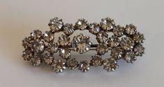 Vintage Silver Tone Rhinestone Clear Cluster Brooch Pin by FunkieFrocks on Etsy
