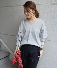 SHIPS for women dress(シップスフォーウィメンドレス)の《予約》ストライプポンチドルマン◆(Tシャツ/カットソー)|グレー