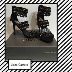 Vince Camuto Fancle high heels Vince Camuto Fancle high heels. Geometric silver tone hardware on black true suede.  Back zip closure sz 8. Heel 4 inches Vince Camuto Shoes Heels