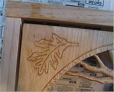"""To celebrate Heartwood Art carvings being featured in upcoming issue of Woodcarving Illustrated the """"Follow My Carving"""" series was created to give you an insider's view on how the art is made. With just the first coat of oil the leaf patterns in the corners are already beginning to standout. The oil will pool a … Leaf Patterns, Woodcarving, Follow Me, Carpentry, Stained Glass, Oil, Illustration, Woodworking, Wood Carvings"""
