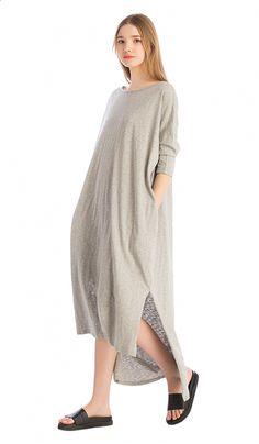 Серое трикотажное платье свободного силуэта, фото 3