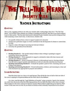 """Insanity Plea -- """"The Tell-Tale Heart"""" by Edgar Allan Poe This is a fun activity to help students analyze a classic short story and practice using logical evidence and reason in persuasive writing and speech. Teaching Literature, Teaching Reading, Teaching Tools, Teaching Resources, Teaching Ideas, Classic Short Stories, The Tell Tale Heart, School Tool, School Stuff"""