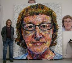 Self Portrait by Mary Ellen Croteau...... made with bottle caps...amazing!