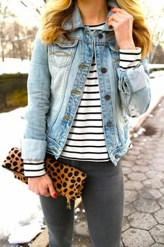 denim and stripes and leopard