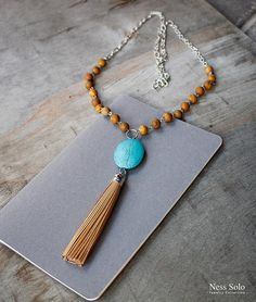 Leather tassel necklace Bohemian jewelry Long boho beaded necklace by NessSolo