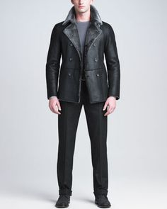 Double-Breasted Shearling Jacket, Degrade Sweater & Raised-Seam Trousers by Giorgio Armani at Neiman Marcus.