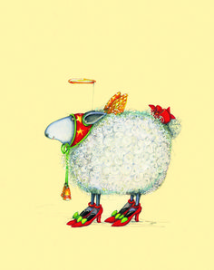 Christmas Sheep in Heels - a glamorous way to send a Holiday Wish!