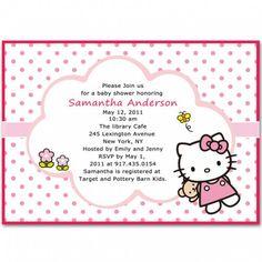 polka dots hello kitty baby girl shower invitations