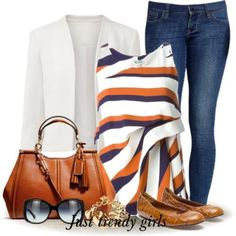 classic casual outfit white blazer with denim jeans tan flats and purse