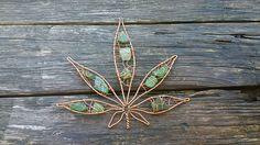 Cannabis Leaf, Marijuana Leaf, Copper Wire Seaglass, Hanging Window Decor, Beach Glass Art, Mermaids Tears Hemp Leaf, Weed Gifts for Him