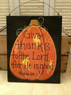 Thanksgiving Door Hanger Scripture Pumpkin Thanksgiving Decor Sign Wood Fall…