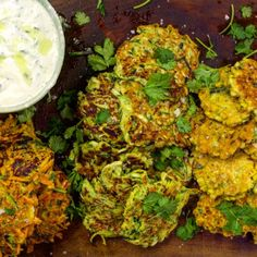 Latkes: They're just as good when made out of old carrots, corn, cucumbers, or any other vegetable you have in the fridge Mob Kitchen, Juice Of One Lemon, Tonkatsu, Coriander Leaves, Big Bowl, Tzatziki, Fritters, Tandoori Chicken, Cooking Time