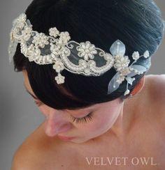etsy shop Velvet Owl - lace head piece with detachable veil