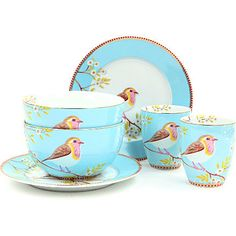 Sleeping in the Forest Pip Studio, Tea Cup Set, Tea Cup Saucer, Vintage Country, Vintage Tea, Blue Shabby Chic, Breakfast Set, Bird Theme, Antique China