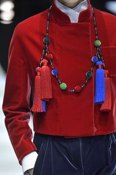 From cardboard sunglasses to statement bags, here are our favorite accessories from Milan Fashion Week Fall 2017 Blue Necklace, Tassel Necklace, Armani Jewellery, Red Blue Green, Giorgio Armani, Milan, Jewelry Accessories, Jewels, Sunglasses