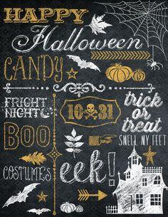 Halloween Wall Art designed by Bailey with designs from Designer Digitals Halloween Chalkboard Art, Chalkboard Print, Chalkboard Drawings, Chalkboard Lettering, Chalkboard Designs, Happy Halloween, Halloween Art, Chalk Wall, Chalk Board