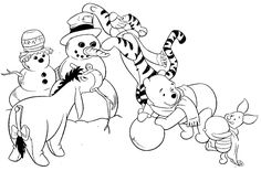 Winter Printable Worksheets | Snowman Family Coloring Pages - Winnie the Pooh - {neverland-tinkerbell-coloring-pages.blogspot.com}