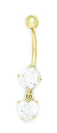14k Yellow Gold CZ 14 Gauge Dangling Heart Drop Body Jewelry Belly Ring - Measures 32x8mm JewelryWeb. $215.00