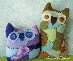 DIY Patchwork Mixed-Fabric Scrappy Owl Stuffed Animal