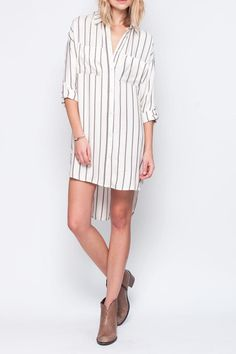 Soft flannel, blanket stripe dress. Cream with black and deep red stripes. Can be worn as a dress, tunic or tucked into some cut off denim shorts with a pair of cow girl boots.    Voyage Dress by Gentle Fawn. Clothing - Dresses - Casual Clothing - Dresses - Printed Thousand Islands, Canada