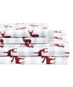 Deer Decor, Sheet Sets, Moose, Plaid, Invitations, Red, Cotton, Bedding, Night