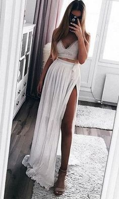 Prom Dresses Split, WHITE MOON PLEAT CHIFFON MAXI SKIRT in WHITE, whether you want a little sequin detail on a short prom dress or an allover sequin design on your long prom gown, sequins ensure you will sparkle and shine all night. Popular Dresses, Dresses Uk, Prom Dresses, Summer Dresses, Mode Outfits, Skirt Outfits, Fashion Outfits, Chiffon Maxi, White Maxi Skirts