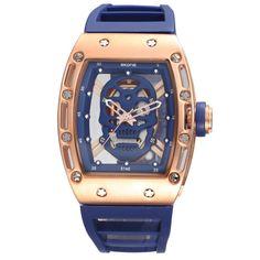 Skone Hollow Silicone Watch Male Unique Design Skull Watches Men Luxury Brand Sports Quartz Wrist Watch relogio masculino