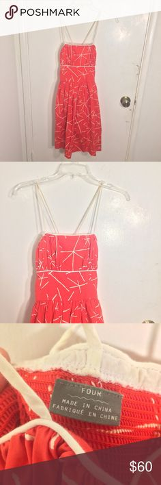 Anthropologie Girls From Savoy Dress Girls From Savoy brand from Anthropologie women's size 4 sleeveless bright red criss cross back spaghetti strap fit and flare mini dress with white print and and straps. Fully lined. In excellent like new condition; no flaws or signs of wear. Fabric content: 100% cotton. Lining is 100% cotton. Anthropologie Dresses Mini