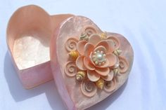 Pink Mother of Pearl Heart-Shaped Trinket Box with by LulusSecrets