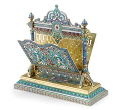 A Russian Gilded Silver and Cloisonné Enamel Letter Holder, Antip Kuzmichev, Moscow; Retailed by Tiffany  Co., 1887