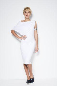 Party Dress / Designer Off Shoulder Dress / White Dres / Cocktail Dress / Shift Dress / marcellamoda - MD099