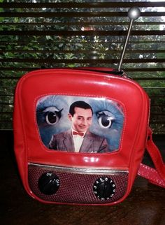 Pee-Wee Herman PROMO TOY TV 1980s Red Vinyl Backpack / Purse w/ Image Antenna! in Toys & Hobbies, TV, Movie & Character Toys, Pee-Wee Herman | eBay
