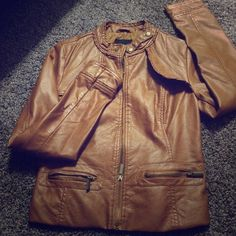 ‼️ SALE TODAY ONLY ‼️ FAUX LEATHER JACKET ‼️ Khaki faux leather jacket. Worn once or twice. Good condition. Jackets & Coats