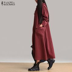 ZANZEA Women Vintage Dress 2017 Spring Autumn Casual Loose Long Dresses Ladies V Neck Long Sleeve Hooded Solid Cotton Vestidos