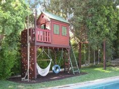 outdoor play structure with shade Kids Backyard Playground, Backyard Playset, Playground Design, Backyard For Kids, Playground Ideas, Backyard Ideas, Backyard Hammock, Garden Ideas, Toddler Playground