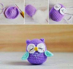 ARTE COM QUIANE - Paps,Moldes,E.V.A,Feltro,Costuras,Fofuchas 3D: coruja de crochet