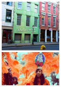 New Orleans: French Quarter and Headdress Girl in Orange