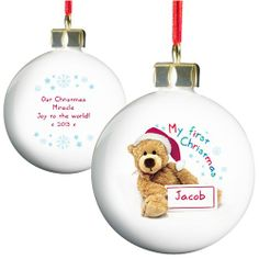 Personalised Teddy First Christmas Tree Bauble Baby's First Christmas Gift My First Christmas Bauble, Christmas Presents For Girls, Babys 1st Christmas, Christmas Tree Baubles, Great Christmas Gifts, Xmas Gifts, Kids Christmas, Christmas Decorations, Personalised Christmas Baubles