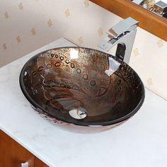 @ Hot Melted Rock Pattern Glass Circular Vessel Bathroom Sink By Elite Cuba, Chic Bathrooms, Bathroom Sinks, Bathroom Ideas, Cream Bathroom, His And Hers Sinks, How To Wash Vegetables, Modern Sink, Modern Bathroom