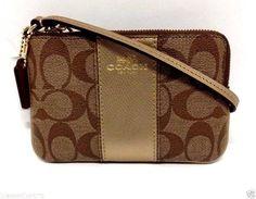 NWT Coach Leather PVC Signature C Wristlet/Wallet Purse 64233 Gold/Kahki $75Gift #Coach #Wristlet