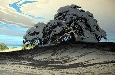 Oscar Droege: Oaks, colour woodcut
