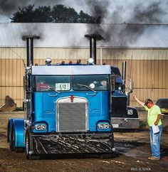 Semi Truck Drag Racing at Outville Power Show sponsored by Big Rig Trucks, Tow Truck, Semi Trucks, Cool Trucks, Custom Big Rigs, Custom Trucks, Truck Driver Wife, Heavy Construction Equipment, Car Camper